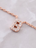Pave Initial Letter Necklace Anarchy Street Rose Gold - Details- B