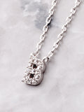 Pave Initial Letter Necklace Anarchy Street Silver - Details- B
