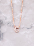 Pave Initial Letter Necklace Anarchy Street Rose Gold- C