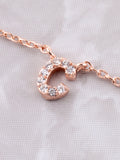 Pave Initial Letter Necklace Anarchy Street Rose Gold - Details- C