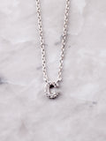 Pave Initial Letter Necklace Anarchy Street Silver- C