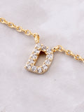 Pave Initial Letter Necklace Anarchy Street Gold - Details- D