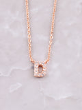 Pave Initial Letter Necklace Anarchy Street Rose Gold- D