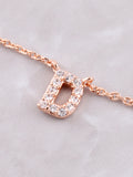Pave Initial Letter Necklace Anarchy Street Rose Gold - Details- D