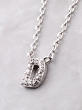 Pave Initial Letter Necklace Anarchy Street Silver - Details- D