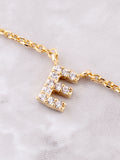 Pave Initial Letter Necklace Anarchy Street Gold - Details- E