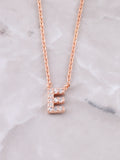 Pave Initial Letter Necklace Anarchy Street Rose Gold- E