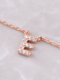 Pave Initial Letter Necklace Anarchy Street Rose Gold - Details- E
