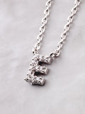 Pave Initial Letter Necklace Anarchy Street Silver - Details- E
