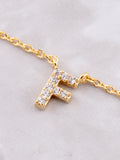 Pave Initial Letter Necklace Anarchy Street Gold - Details- F