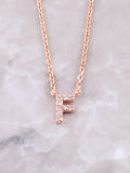 Pave Initial Letter Necklace Anarchy Street Rose Gold- F