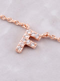 Pave Initial Letter Necklace Anarchy Street Rose Gold - Details- F