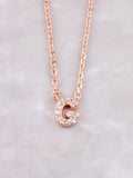 Pave Initial Letter Necklace Anarchy Street Rose Gold- G