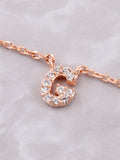 Pave Initial Letter Necklace Anarchy Street Rose Gold - Details- G