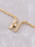 Pave Initial Letter Necklace Anarchy Street Gold - Details- H