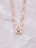 Pave Initial Letter Necklace Anarchy Street Rose Gold- H