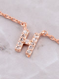 Pave Initial Letter Necklace Anarchy Street Rose Gold - Details- H