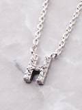 Pave Initial Letter Necklace Anarchy Street Silver - Details- H