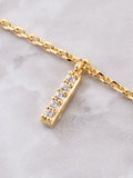 Pave Initial Letter Necklace Anarchy Street Gold - Details- I