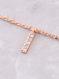 Pave Initial Letter Necklace Anarchy Street Rose Gold - Details- I