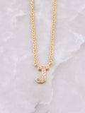 Pave Initial Letter Necklace Anarchy Street Gold- J