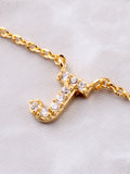 Pave Initial Letter Necklace Anarchy Street Gold - Details- J