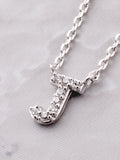 Pave Initial Letter Necklace Anarchy Street Silver - Details- J