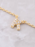 Pave Initial Letter Necklace Anarchy Street Gold - Details- K
