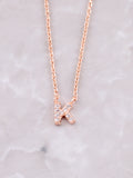 Pave Initial Letter Necklace Anarchy Street Rose Gold- K
