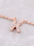 Pave Initial Letter Necklace Anarchy Street Rose Gold - Details- K