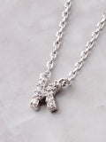 Pave Initial Letter Necklace Anarchy Street Silver - Details- K