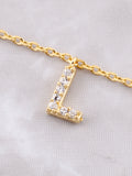 Pave Initial Letter Necklace Anarchy Street Gold - Details- L