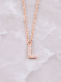 Pave Initial Letter Necklace Anarchy Street Rose Gold- L
