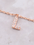Pave Initial Letter Necklace Anarchy Street Rose Gold - Details- L