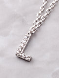 Pave Initial Letter Necklace Anarchy Street Silver - Details- L