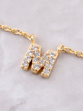 Pave Initial Letter Necklace Anarchy Street Gold - Details- M