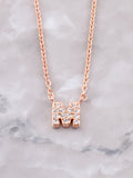 Pave Initial Letter Necklace Anarchy Street Rose Gold- M