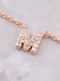 Pave Initial Letter Necklace Anarchy Street Rose Gold - Details- M