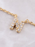 Pave Initial Letter Necklace Anarchy Street Gold - Details- N