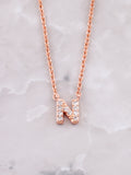 Pave Initial Letter Necklace Anarchy Street Rose Gold- N