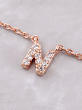 Pave Initial Letter Necklace Anarchy Street Rose Gold - Details- N