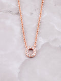 Pave Initial Letter Necklace Anarchy Street Rose Gold- O