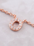 Pave Initial Letter Necklace Anarchy Street Rose Gold - Details- O