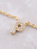 Pave Initial Letter Necklace Anarchy Street Gold - Details- P