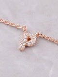 Pave Initial Letter Necklace Anarchy Street Rose Gold - Details- P