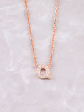 Pave Initial Letter Necklace Anarchy Street Rose Gold- Q