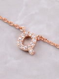 Pave Initial Letter Necklace Anarchy Street Rose Gold - Details- Q