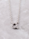 Pave Initial Letter Necklace Anarchy Street Silver- Q