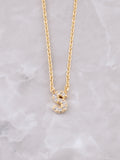 Pave Initial Letter Necklace Anarchy Street Gold- S