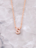 Pave Initial Letter Necklace Anarchy Street Rose Gold- S